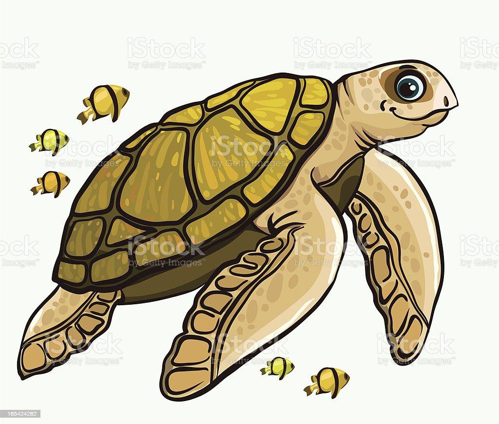 Cartoon funny sea turtle royalty-free stock vector art