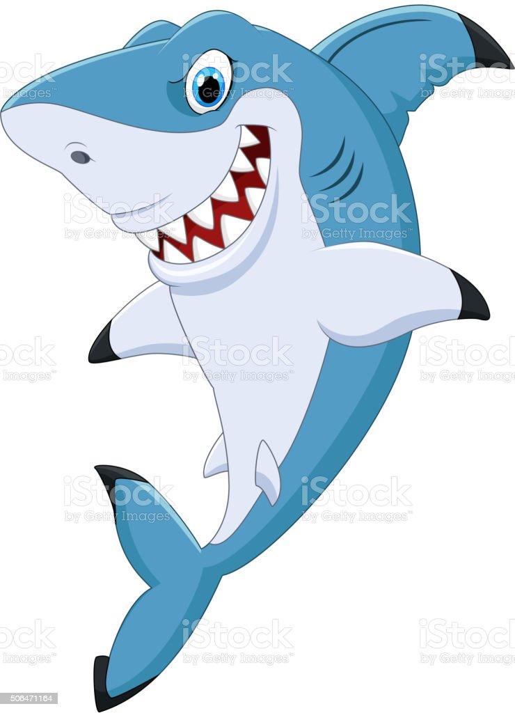 Cartoon funny shark posing vector art illustration