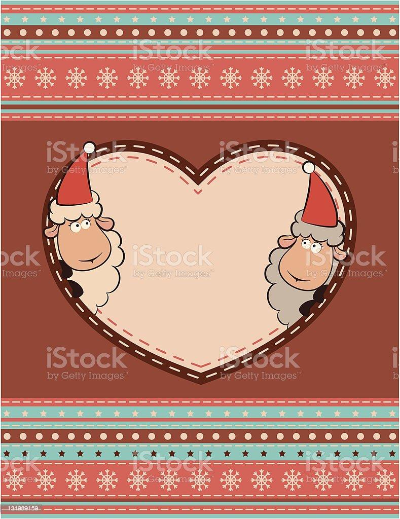Cartoon funny sheep. Vector Christmas illustration royalty-free stock vector art