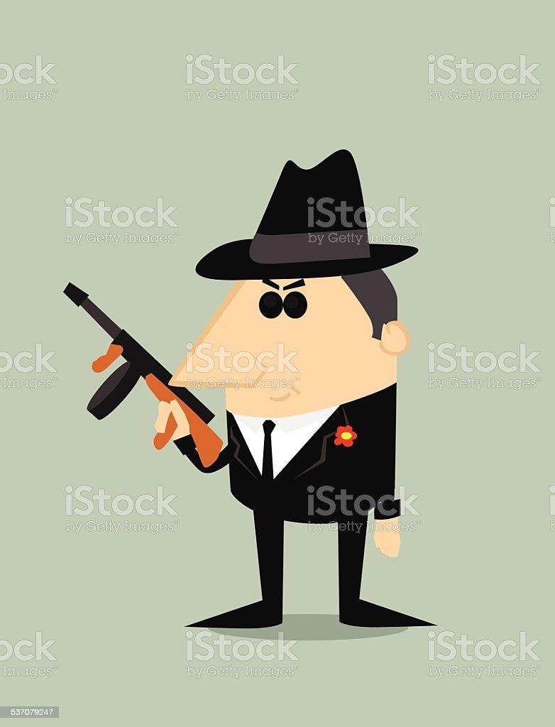Cartoon gangster vector art illustration