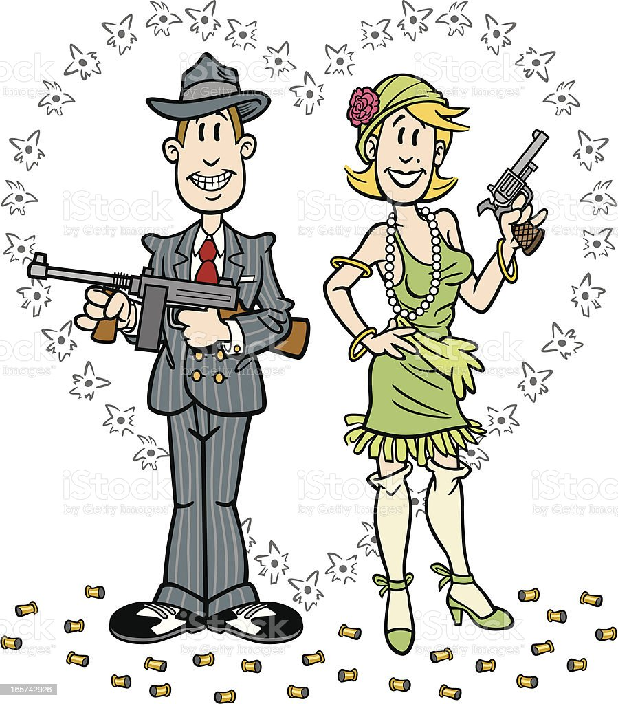 Cartoon Gangsters royalty-free stock vector art