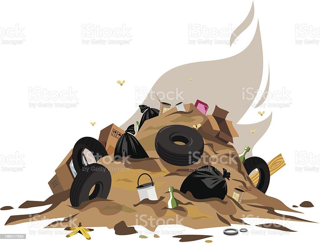 Cartoon garbage pile on white background vector art illustration