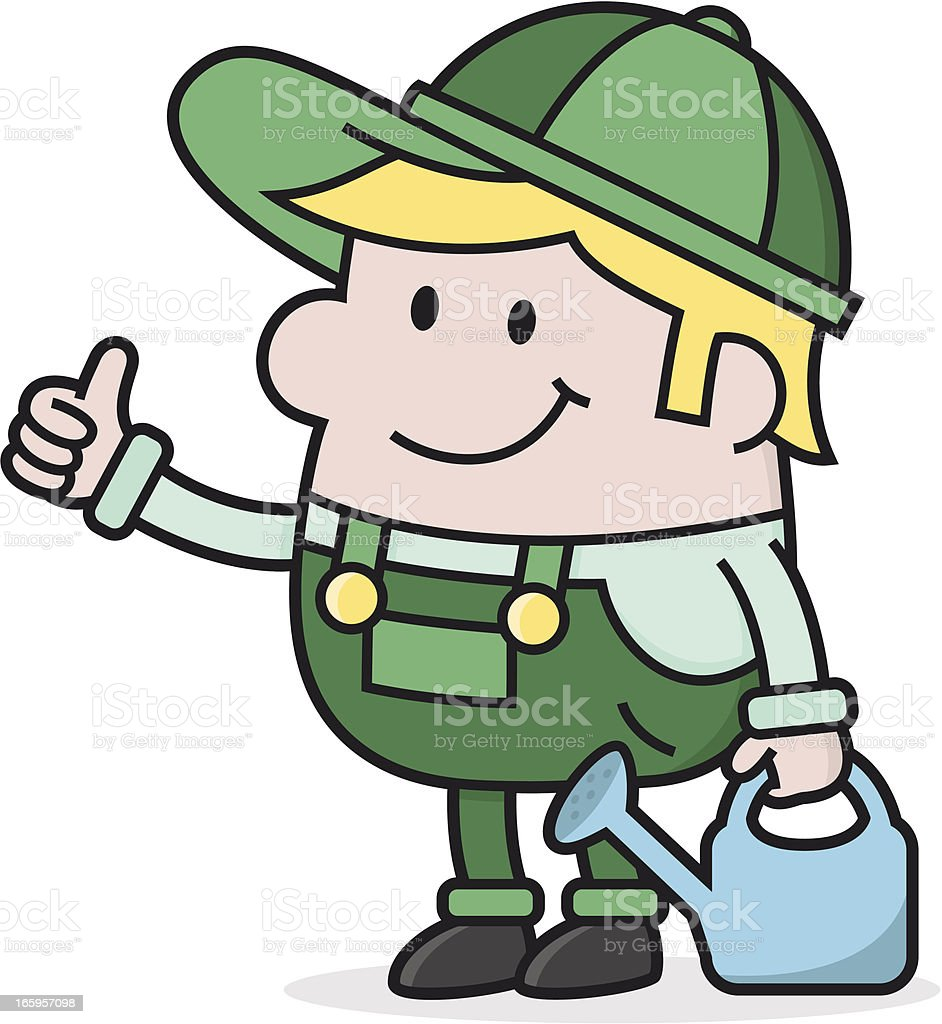 cartoon gardener with watering can / farmer thumbs up royalty-free stock vector art