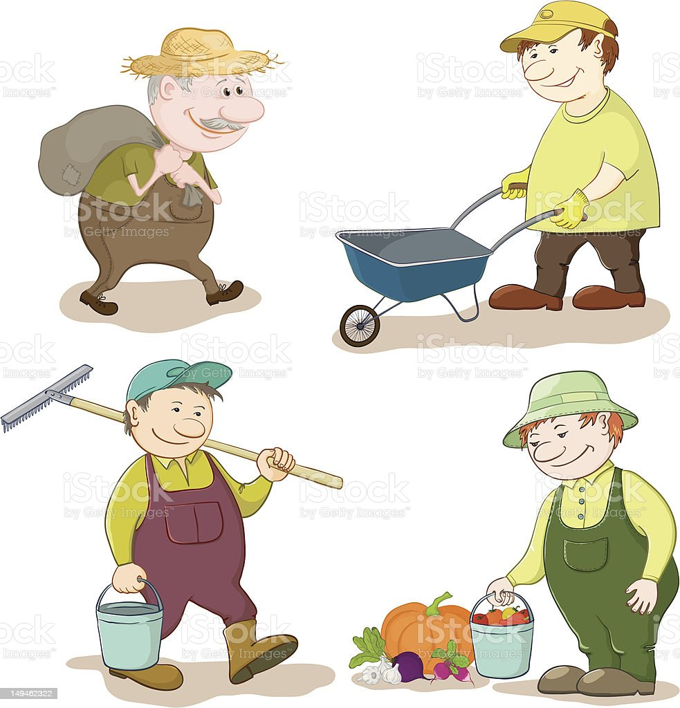 Cartoon: gardeners work royalty-free stock vector art