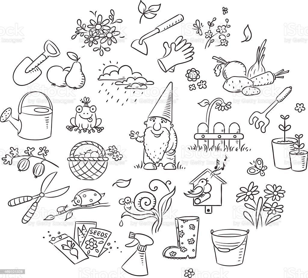 Dibujo conjunto de jardiner a en blanco y negro - Dessin de potager ...
