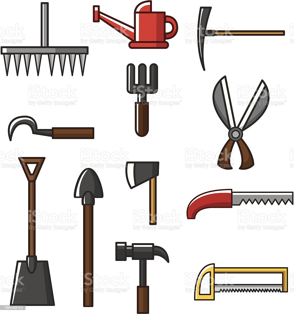 Cartoon gardening tools icons stock vector art 134433704 for Gardening tools cartoon