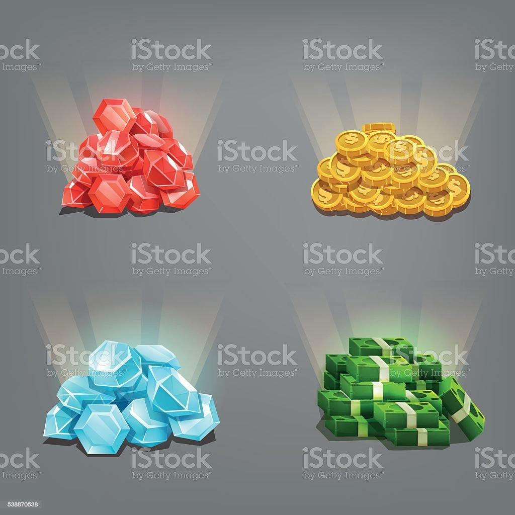 Cartoon gems, golden coins and dollars. Vector illustration. vector art illustration