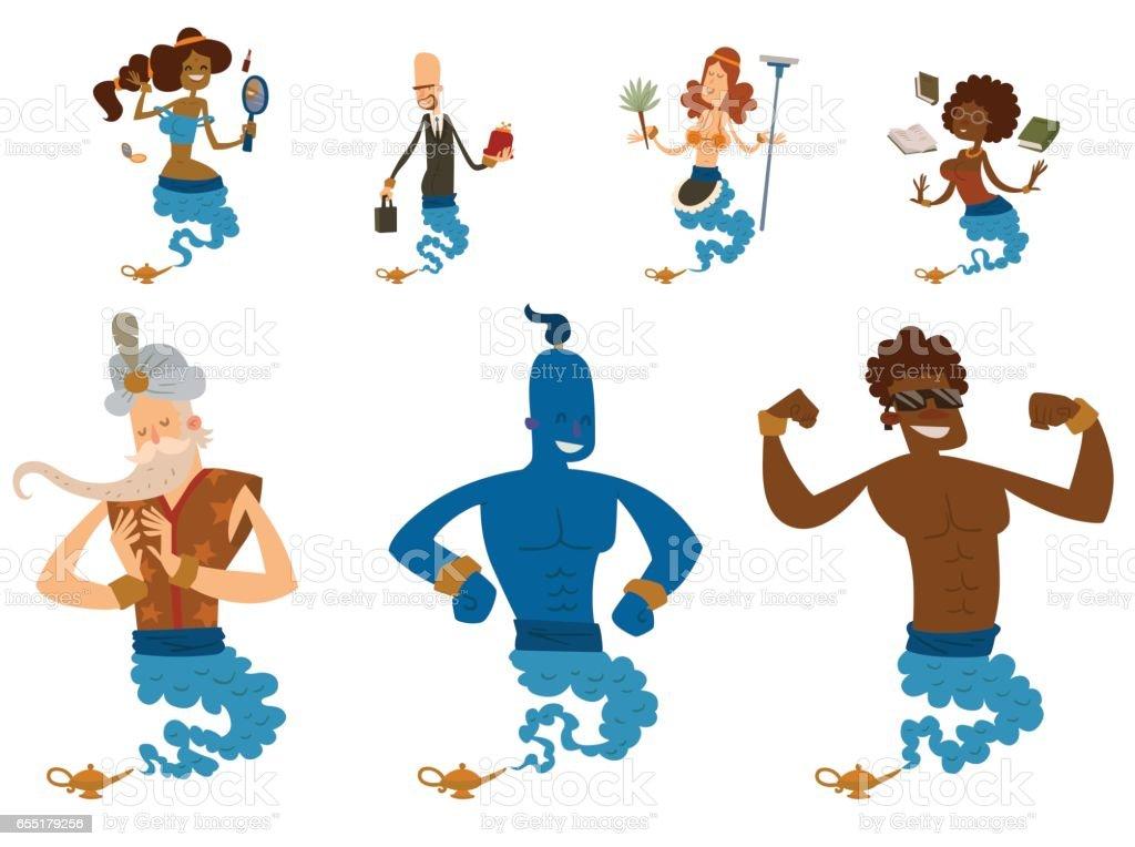 Cartoon genie character magic lamp vector illustration treasure aladdin miracle djinn coming out isolated legend set wish magical wizard desire vector art illustration