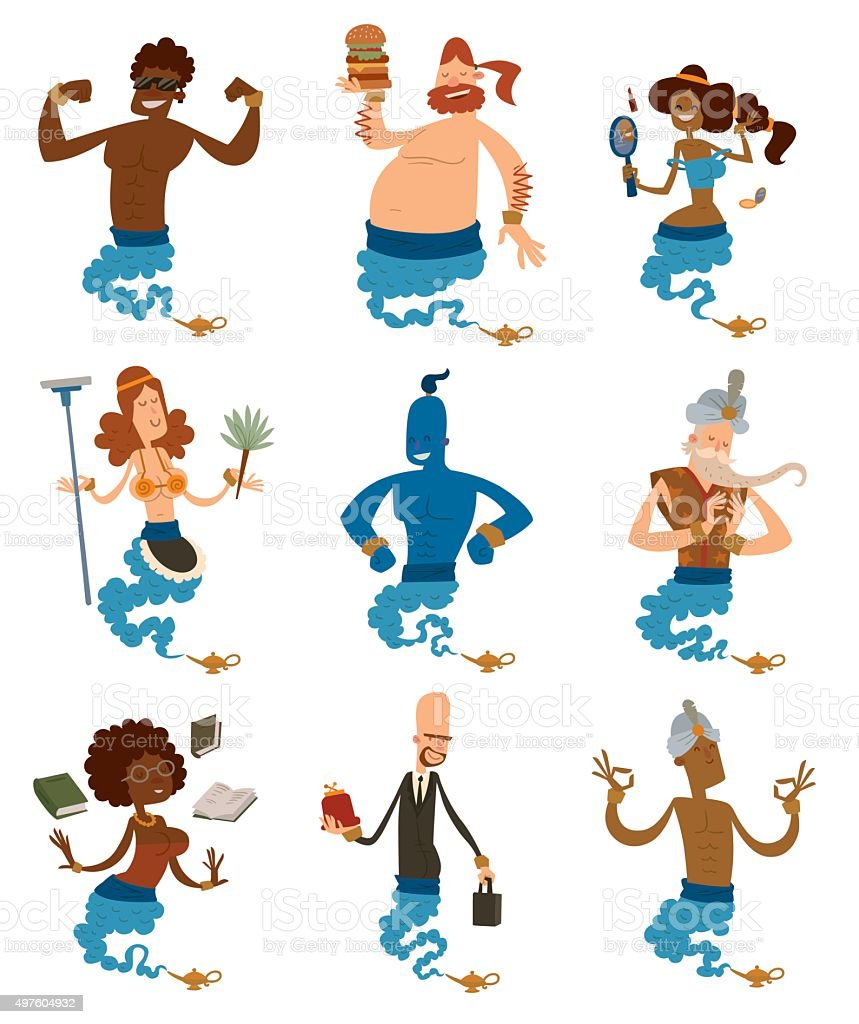 Cartoon genie support people coming out of a magic lamps vector art illustration