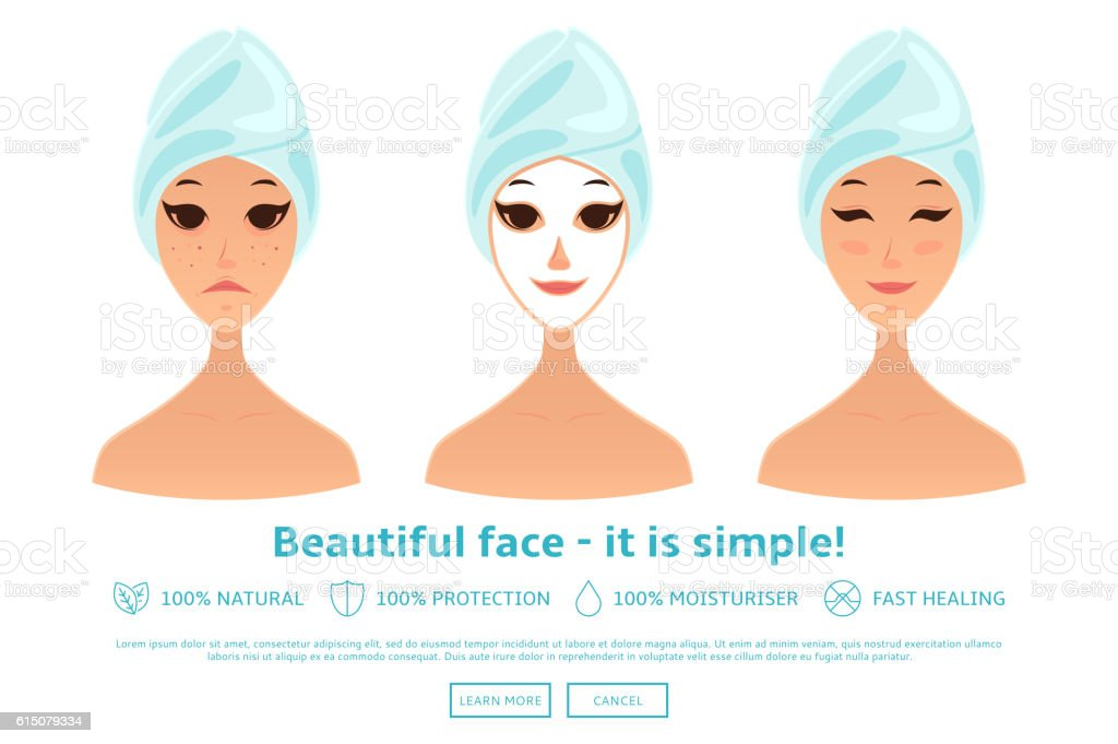 Cartoon girl care her face and applying natural mask royalty-free stock vector art