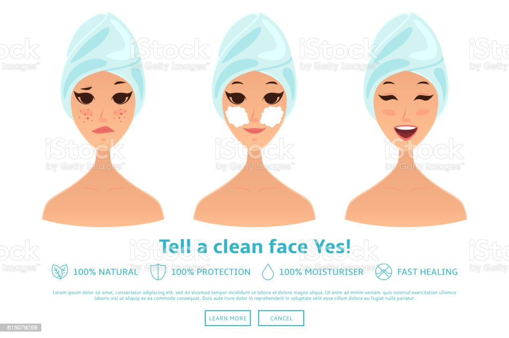 Cartoon girl cleaning and care face royalty-free stock vector art
