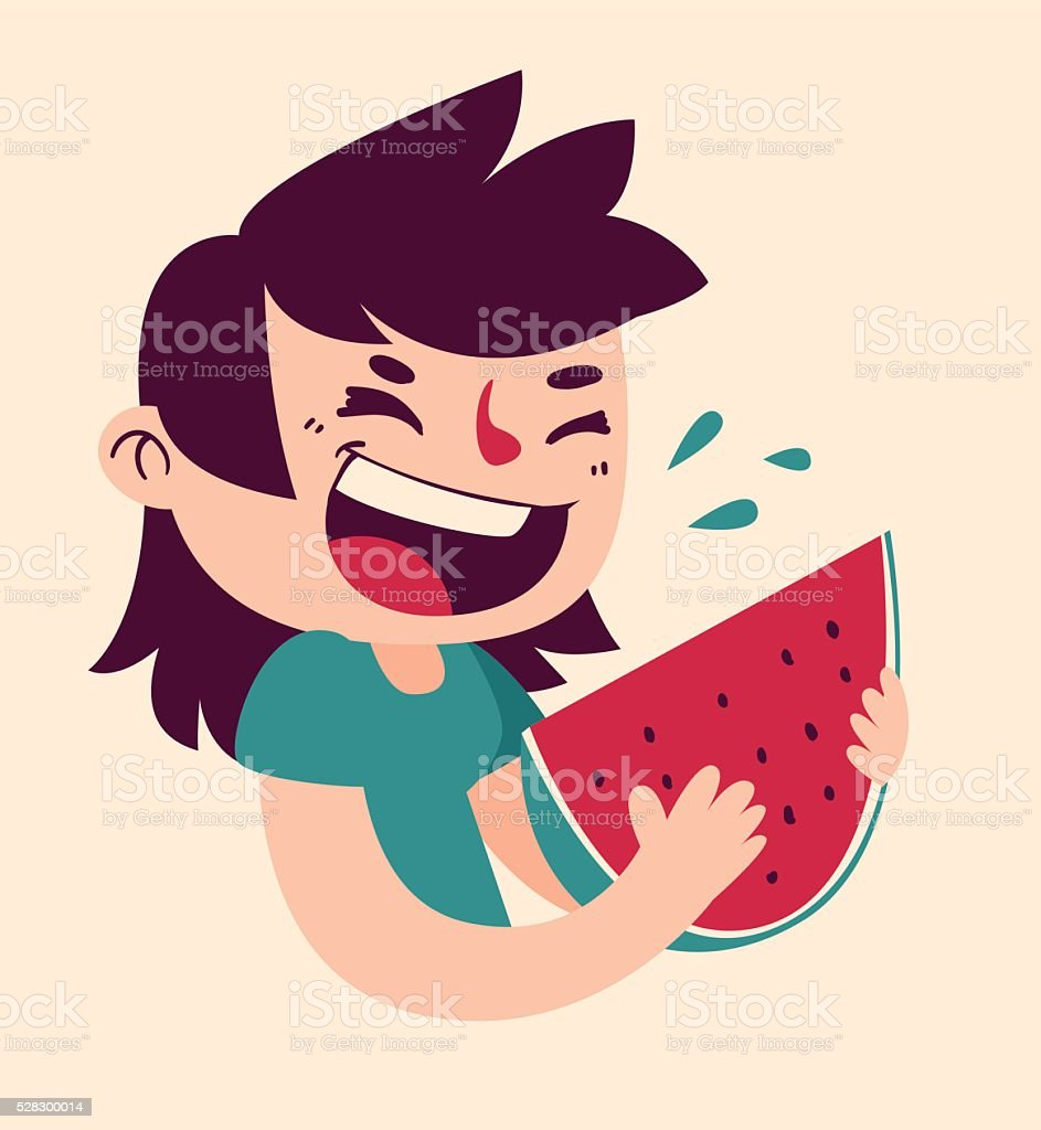 Cartoon Girl Eating Watermelon vector art illustration