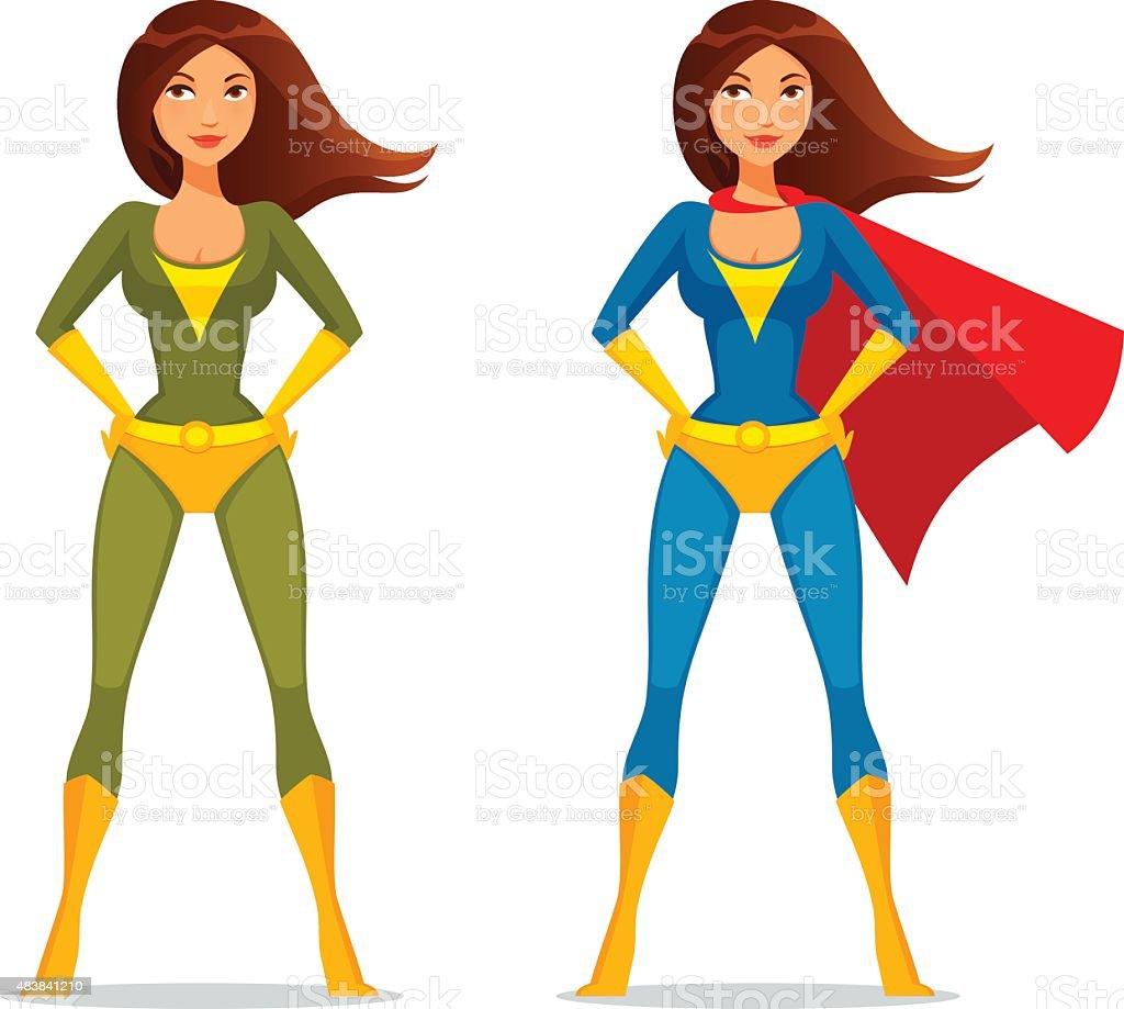 cartoon girl in superhero costume vector art illustration