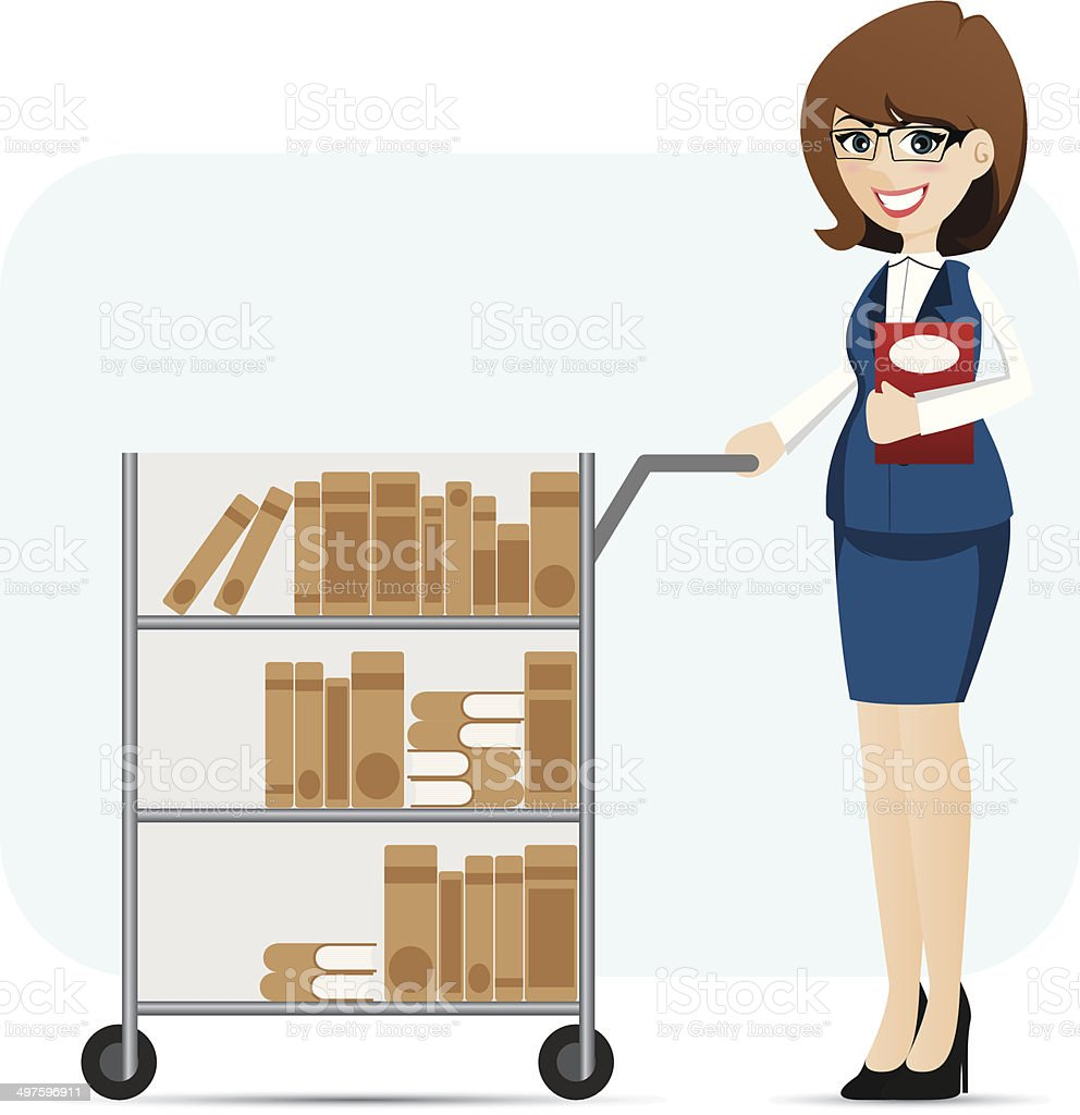 cartoon girl librarian with book trolley vector art illustration