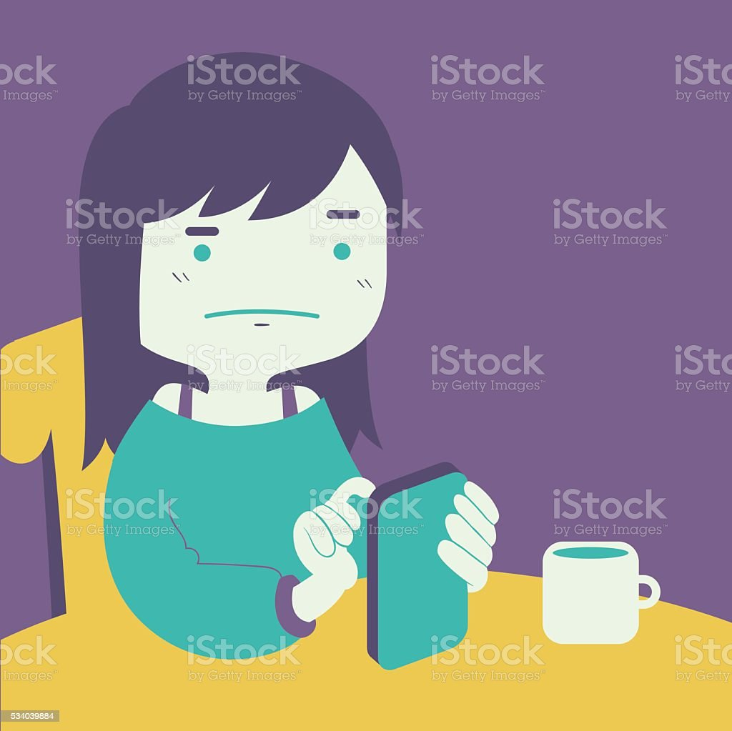 Cartoon Girl Looking at Phone vector art illustration