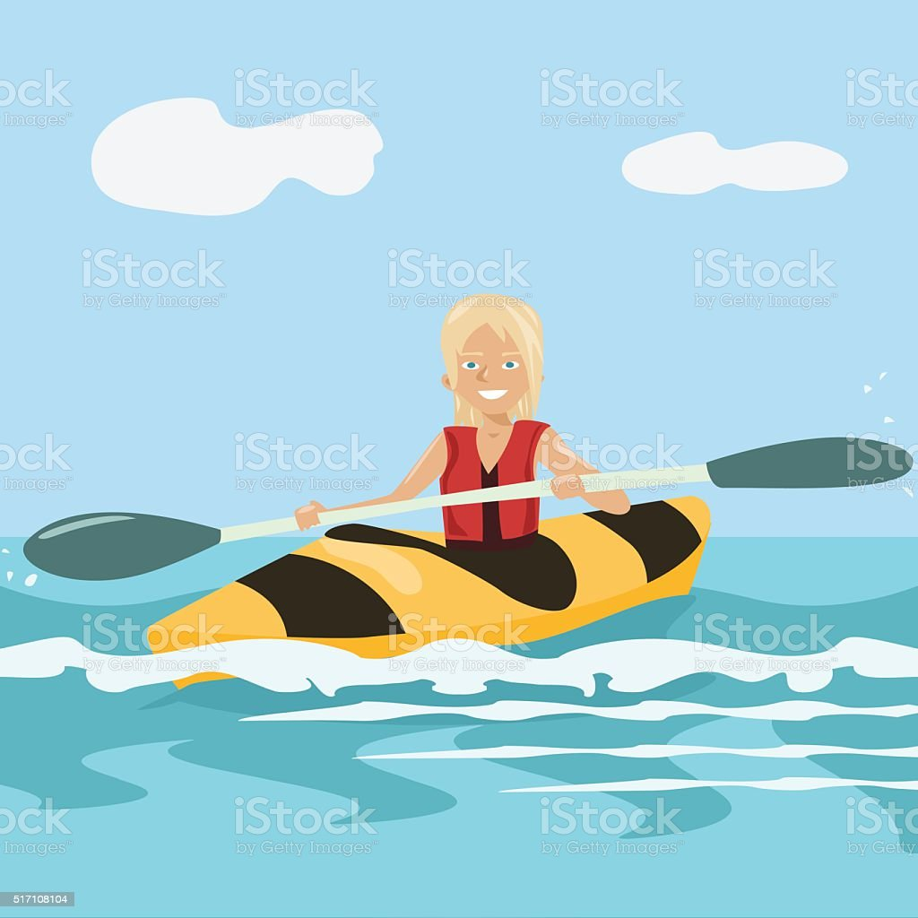 cartoon girl paddling a kayak vector art illustration