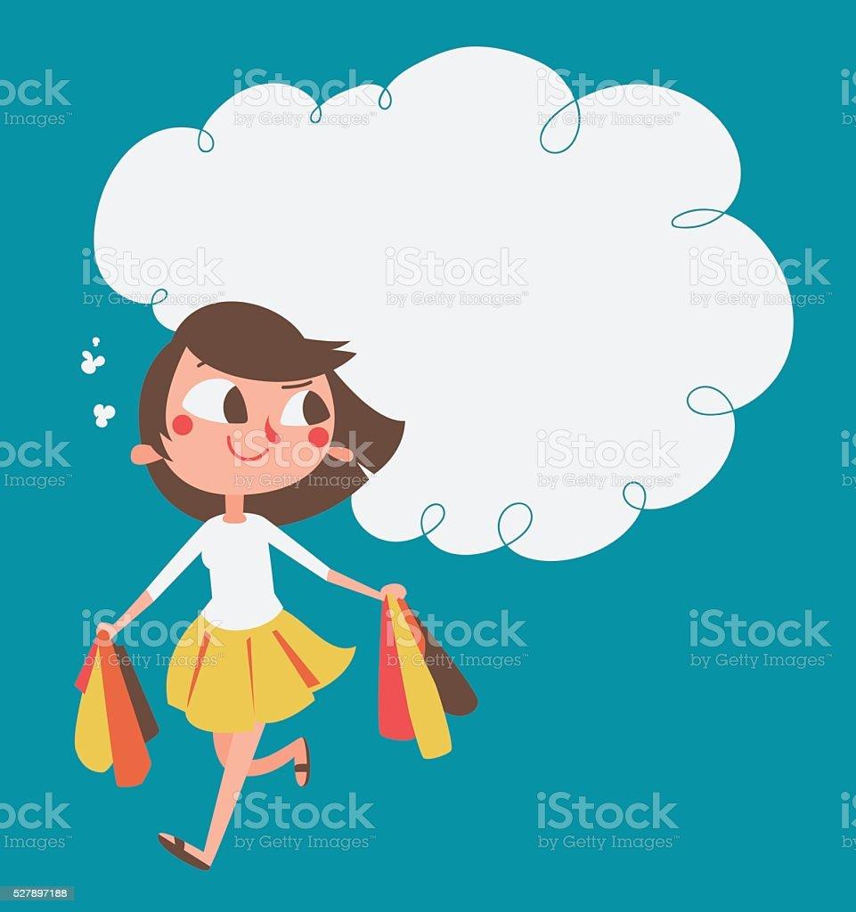 Cartoon Girl Shopping vector art illustration