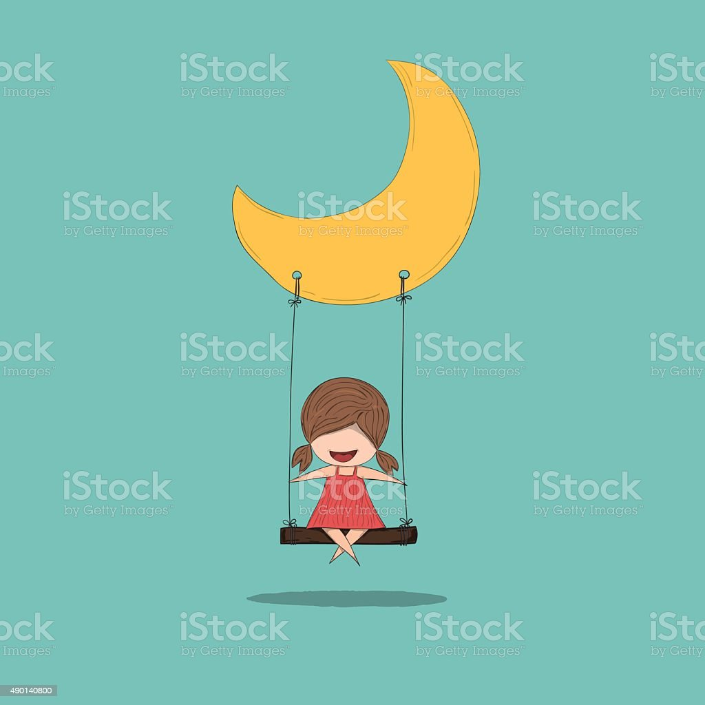 Cartoon girl swinging on a moon, drawing by hand vector vector art illustration