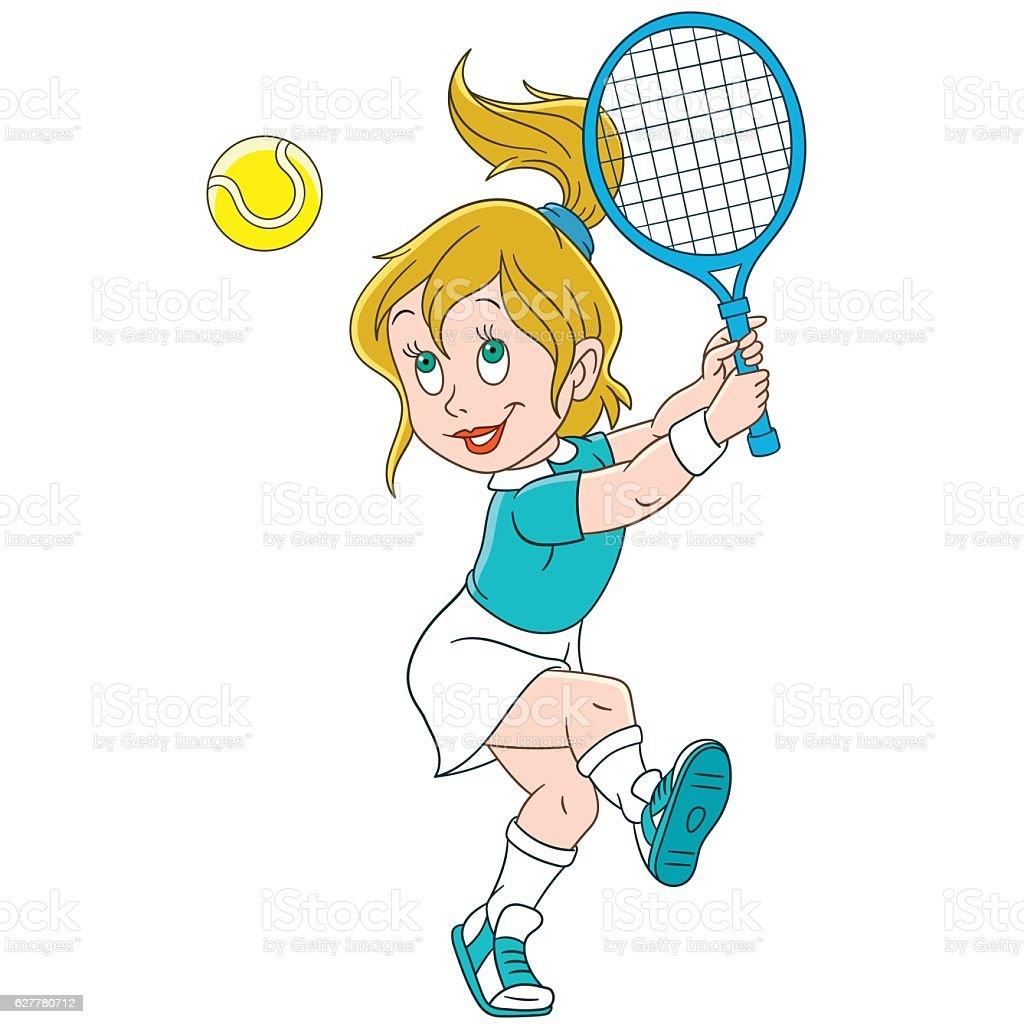 Cartoon girl tennis player vector art illustration