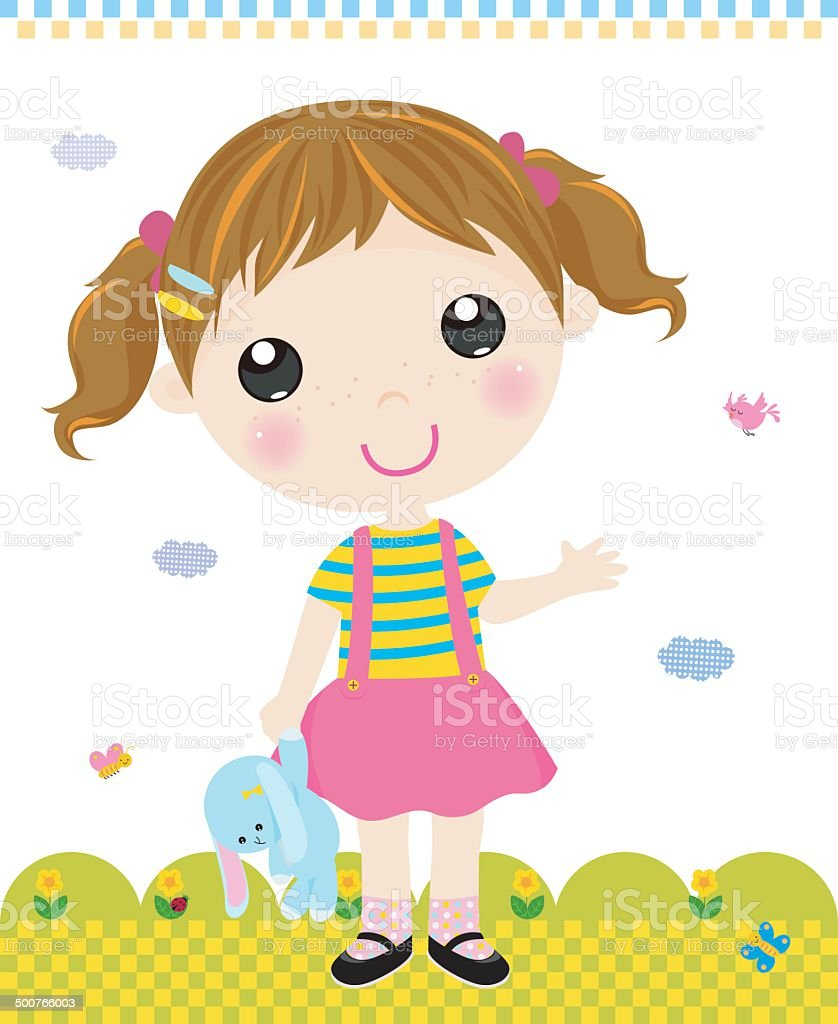 Cartoon girl with toy vector art illustration