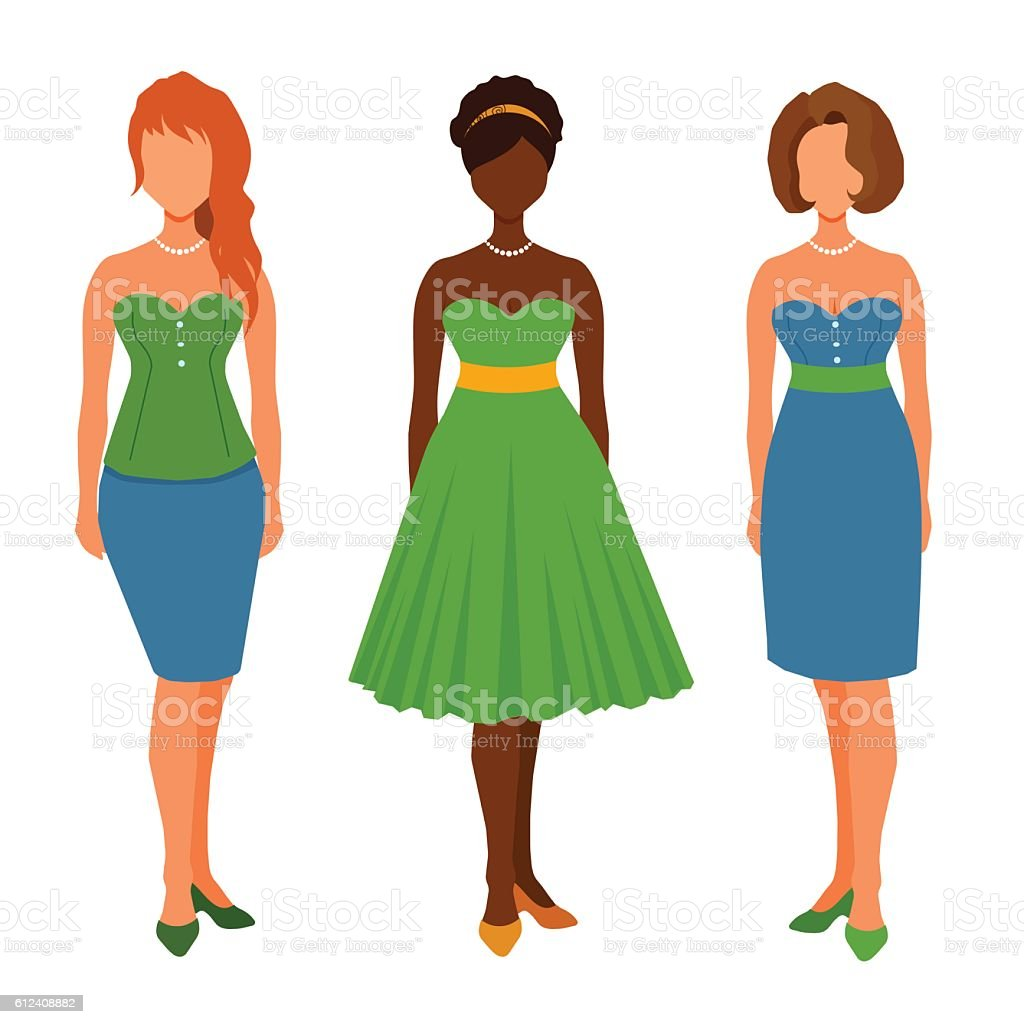 Cartoon girls in dresses, casual outfit, skirt, shoes. vector art illustration