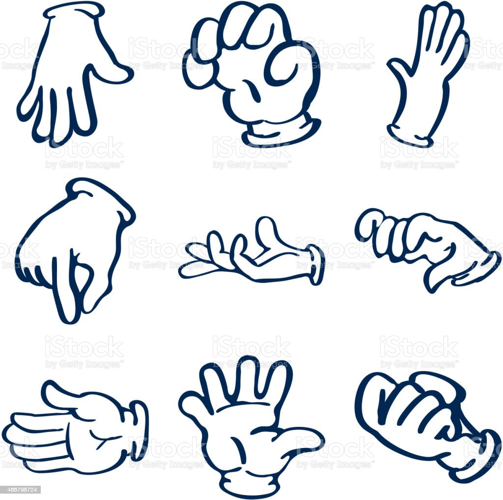 Cartoon gloved hands. Vector clip art vector art illustration