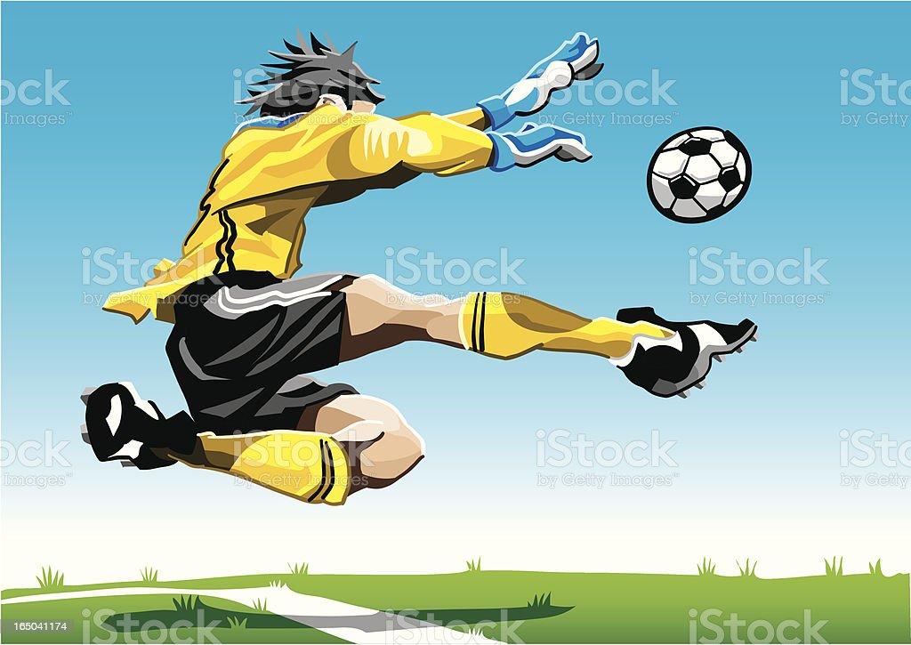 Cartoon Goalkeeper Yellow royalty-free stock vector art