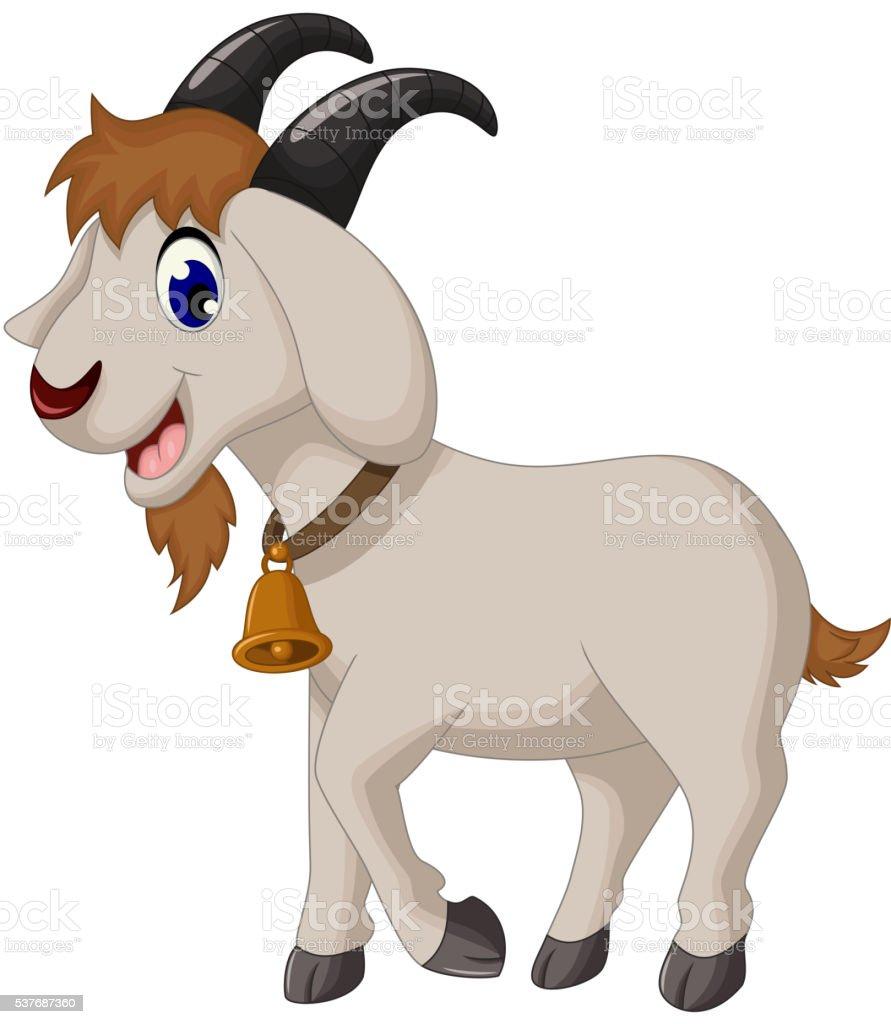 cartoon goat smiling vector art illustration