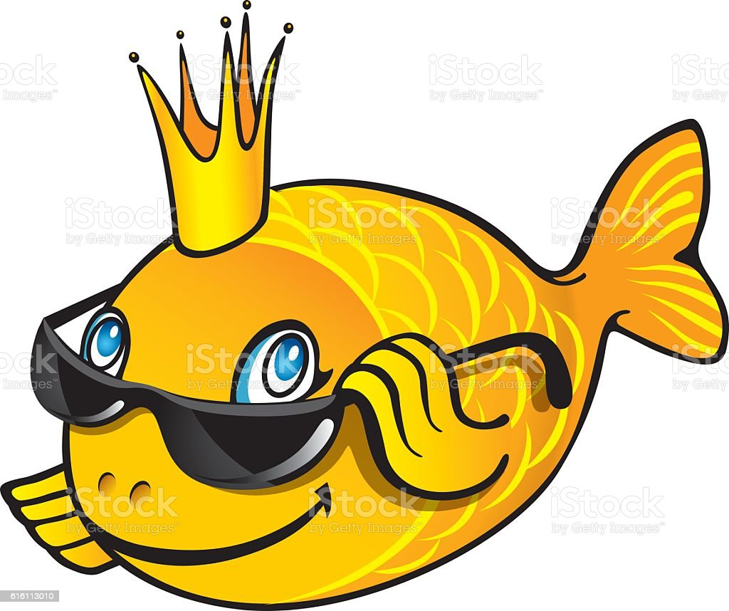 Cartoon goldfish illustration royalty free stock photo image - Cartoon Goldfish In The Crown Shows Okay Royalty Free Stock Vector Art