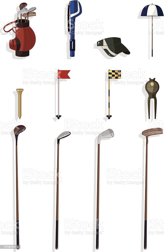 cartoon golf element icon set vector art illustration