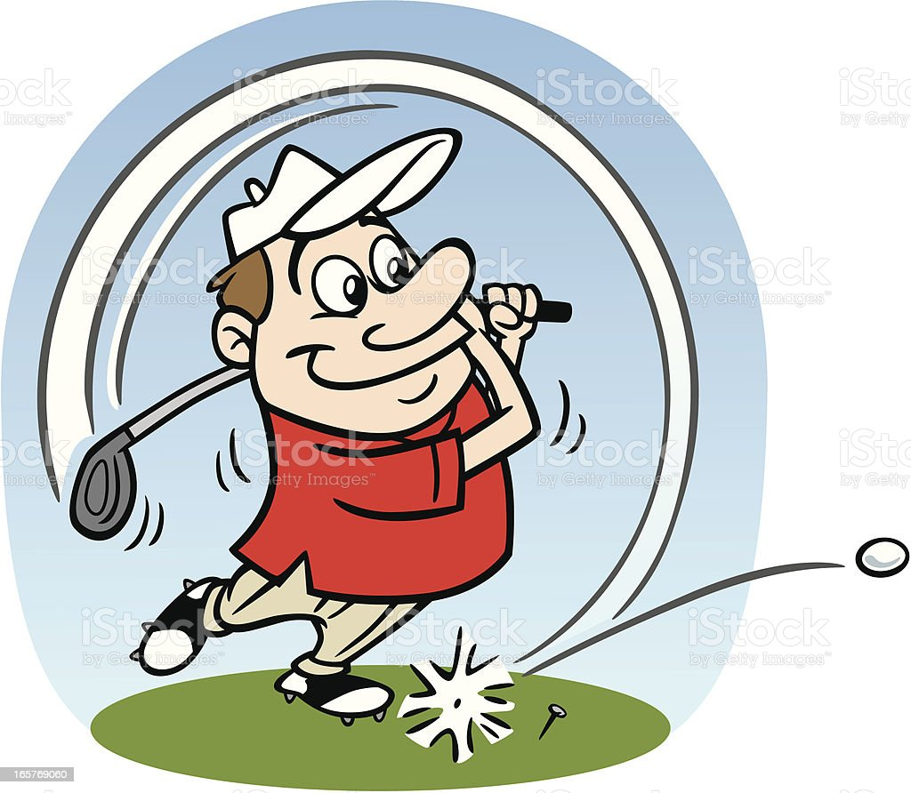 Cartoon Golfer Taking A Swing royalty-free stock vector art