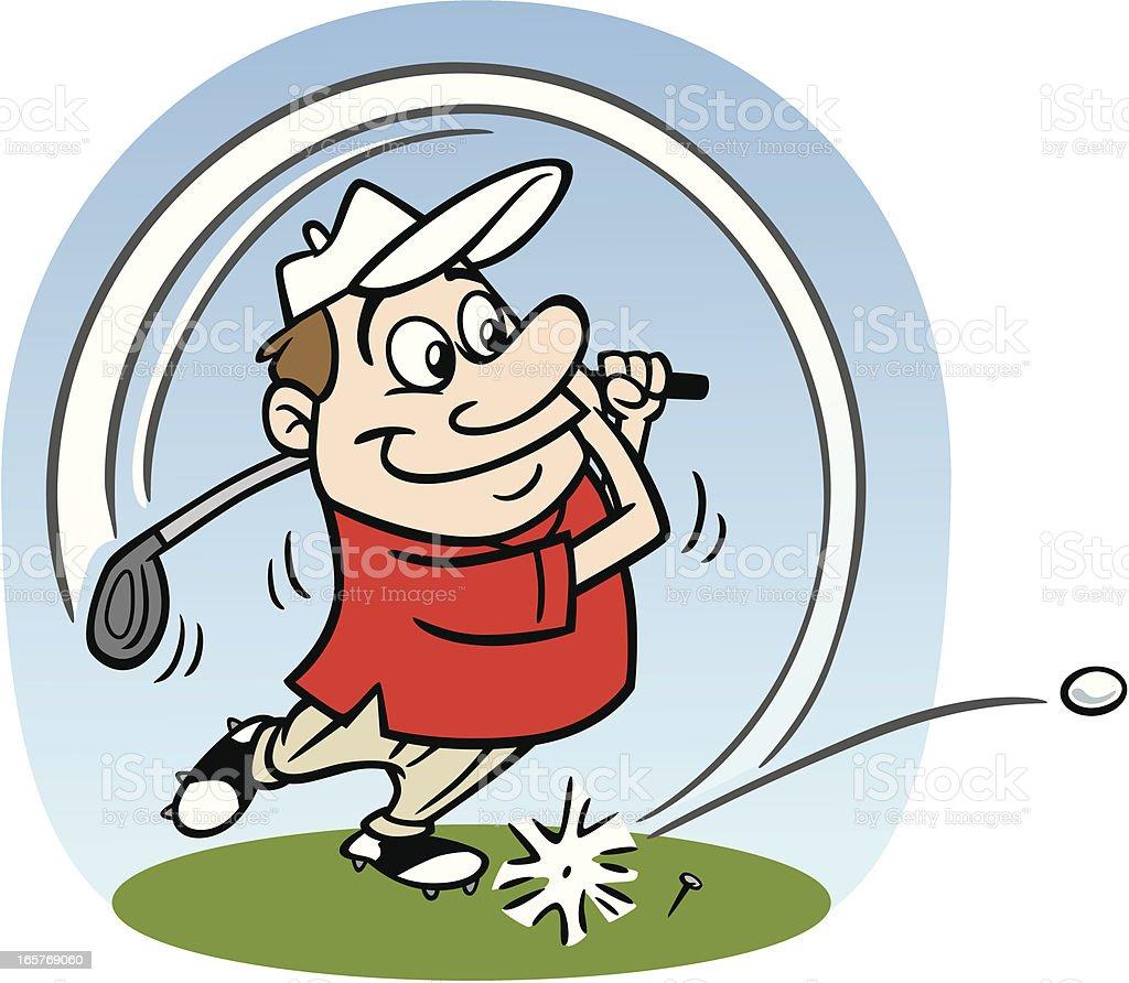 Cartoon Golfer Taking A Swing vector art illustration