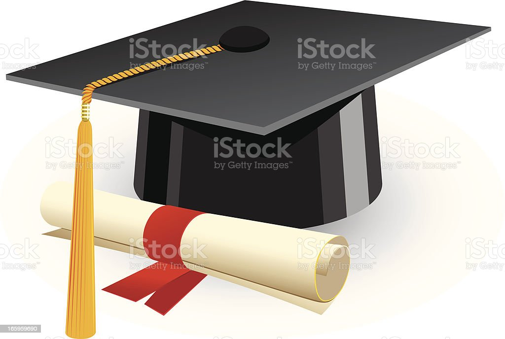 Cartoon graduation cap and diploma with red ribbon vector art illustration