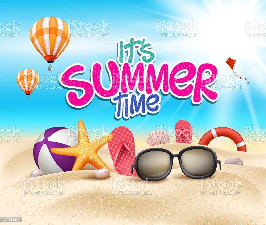 A cartoon graphic for its summer time vector art illustration