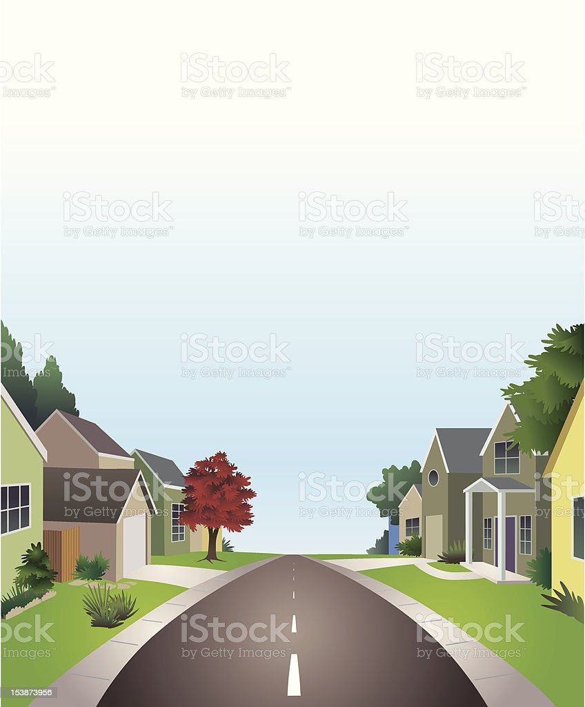 Cartoon graphic neighborhood street vector art illustration