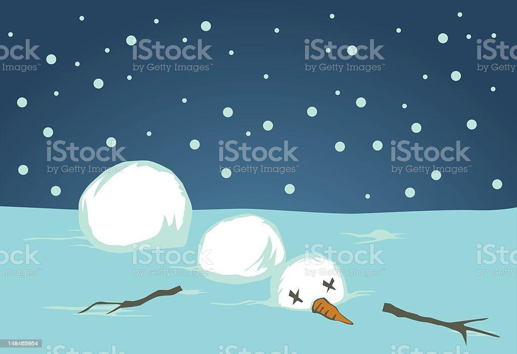A cartoon graphic of a fallen disassembled snowman royalty-free stock vector art