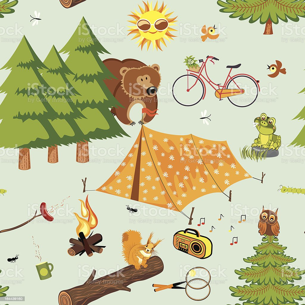 A cartoon graphic of a tent and the outdoor environment vector art illustration