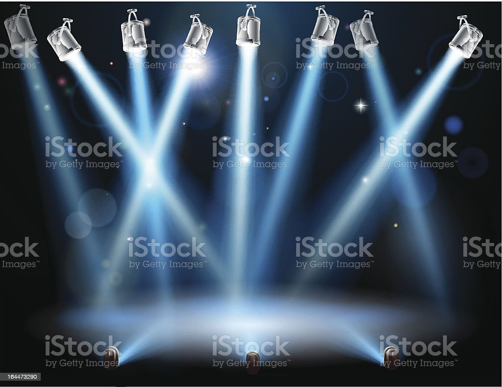 Cartoon graphic of blue spotlights on a stage vector art illustration