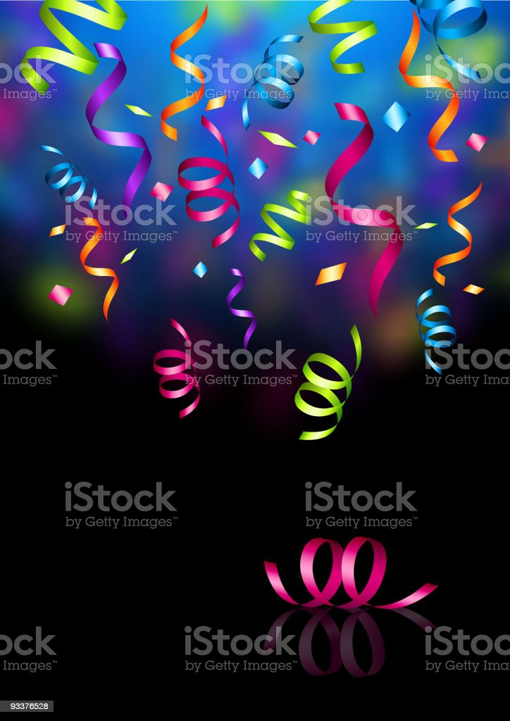 A cartoon graphic of colorful confetti royalty-free stock vector art