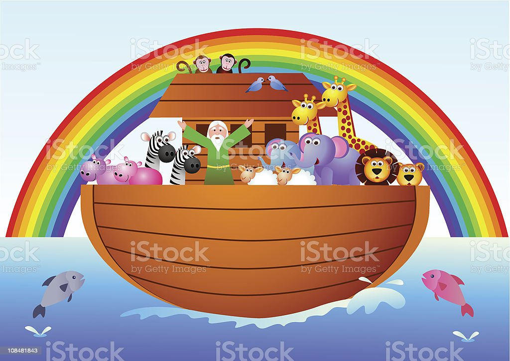 Cartoon graphic of Noah's Ark with rainbow and animals royalty-free stock vector art