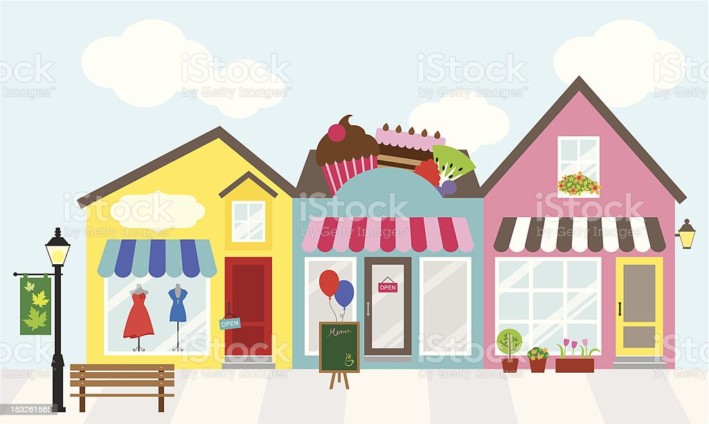 Cartoon graphic of three adjacent shops royalty-free stock vector art