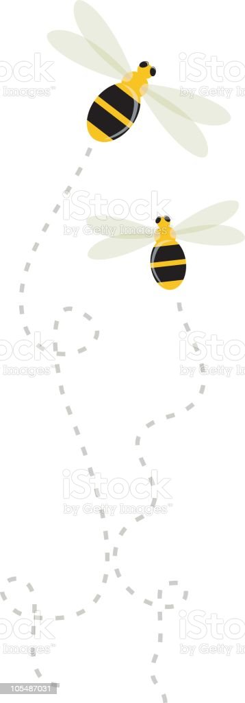 Cartoon graphic of two bees with trails behind them vector art illustration