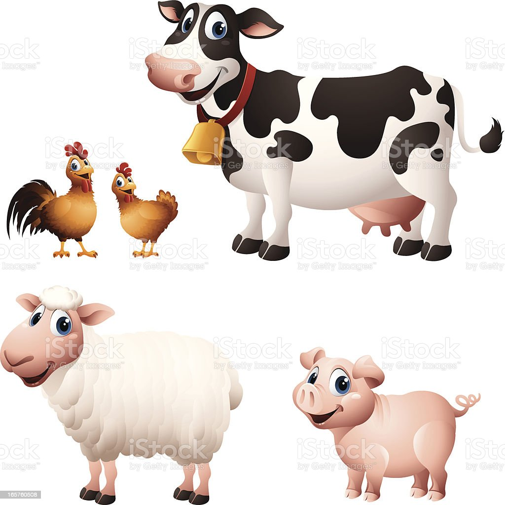 Cartoon graphics of chicken, cow, sheep and pig vector art illustration