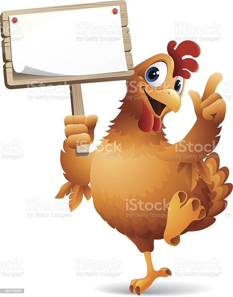 Cartoon graphics of chicken holding sign vector art illustration