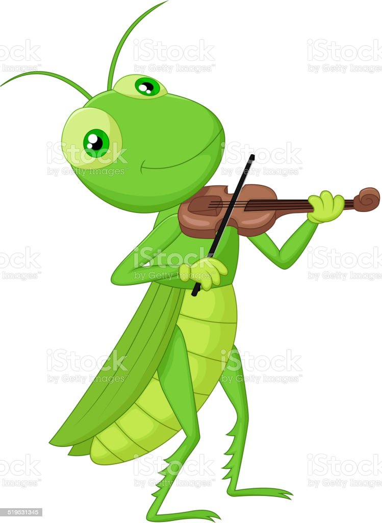 Cartoon Grasshopper with a Violin vector art illustration