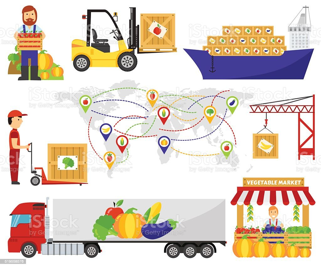Cartoon green eco food fruits delivery truck vector illustration vector art illustration