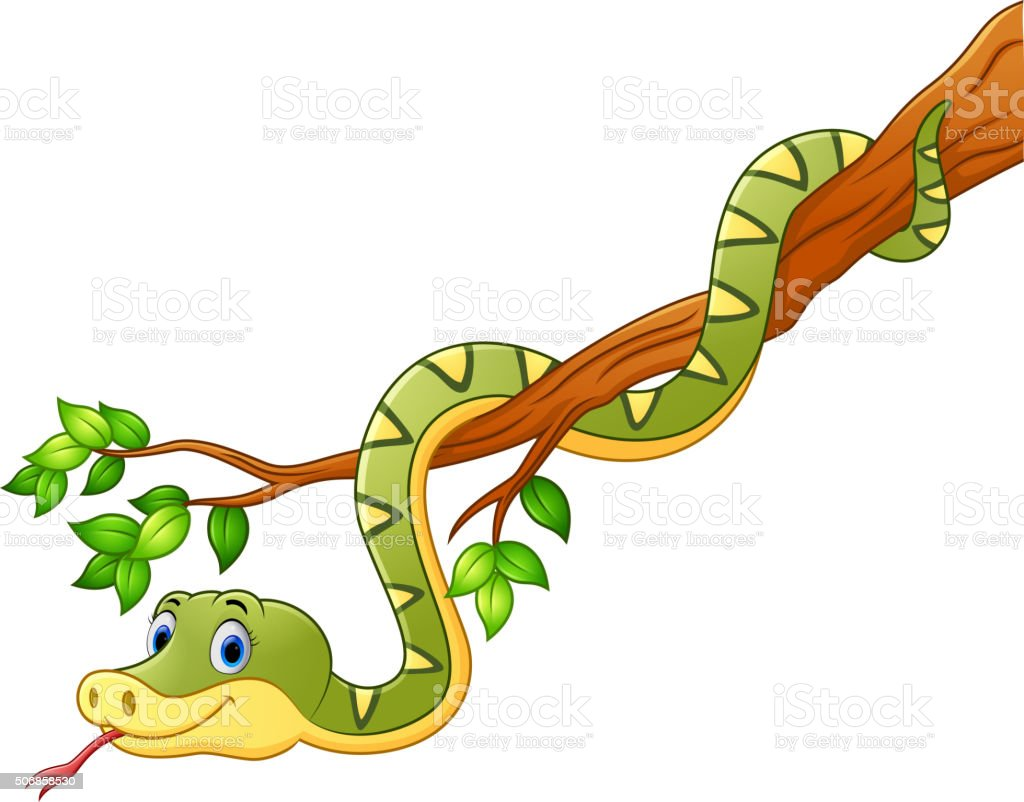 Cartoon green snake on branch vector art illustration