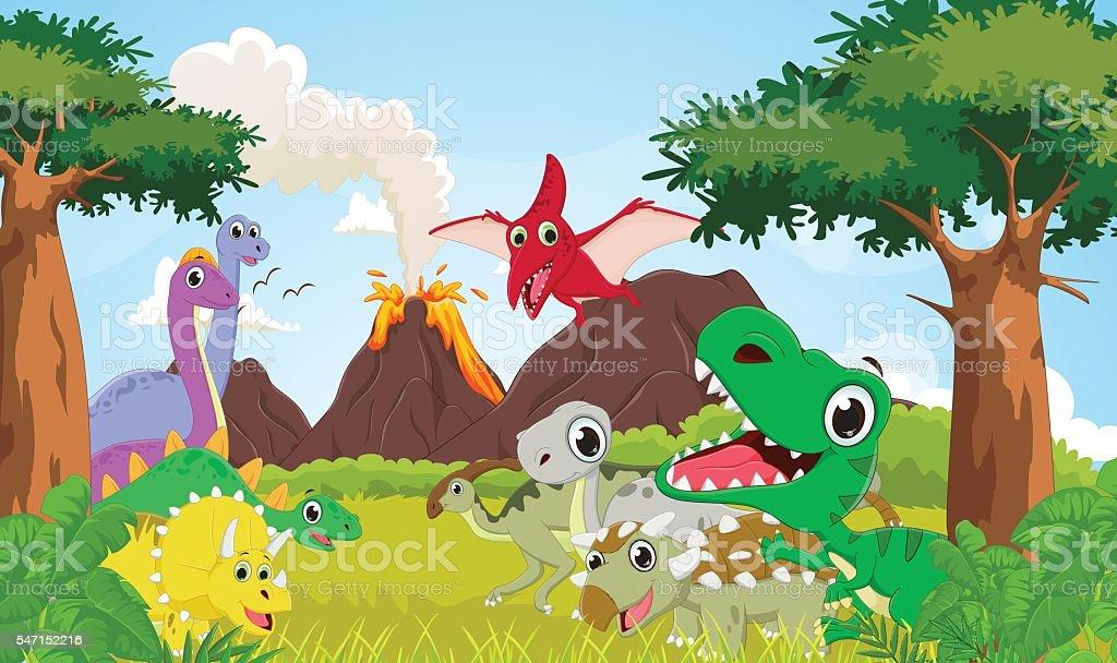 Cartoon group of dinosaur with the prehistoric background vector art illustration