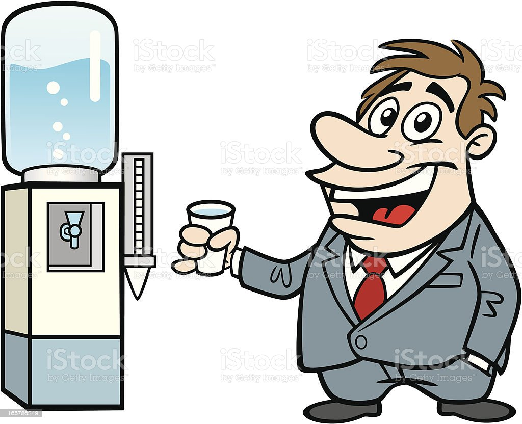 Cartoon Guy At Water Cooler vector art illustration