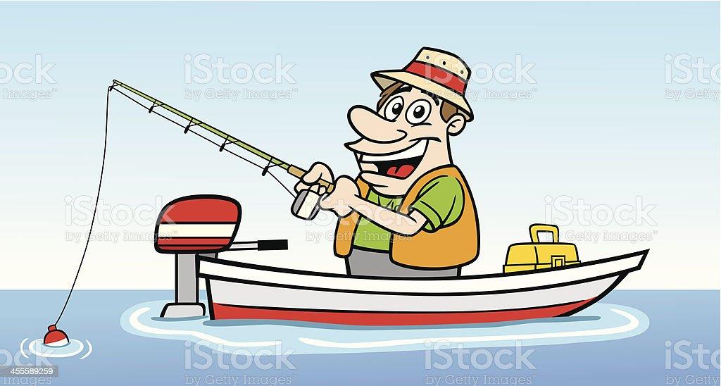 Cartoon Guy In Boat Fishing royalty-free stock vector art